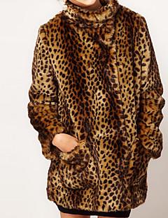 Dames Vintage Street chic Verfijnd Winter Bontjas,Feest Casual/Dagelijks Grote maten Luipaard Opstaand Lange mouw Lang Imitatiebont