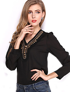 Women's Casual/Daily Vintage All Seasons Blouse,Solid V Neck Long Sleeve White / Black Others Translucent