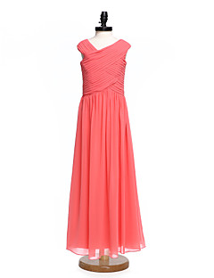 2017 Lanting Bride® Floor-length Chiffon Junior Bridesmaid Dress A-line V-neck with Criss Cross / Ruching