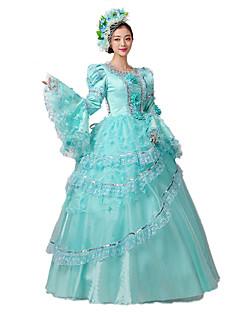 한 조각/드레스 고딕 로리타 클래식/전통적 롤리타 Steampunk® 빅토리안 코스프레 로리타 드레스 플로럴 긴 길이 드레스 모자 에 대한 레이스 면