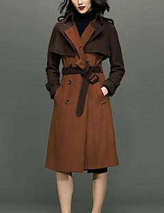 Damen Solide Einfach Lässig/Alltäglich Mantel,Winter Ständer Langarm Braun Dick Wolle