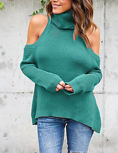 Women's Going out / Casual/Daily / Formal Sexy / Cute T-shirt,Solid Turtleneck Long Sleeve Blue / Red / Brown / Green Polyester