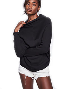 בינוני (מדיום) סתיו / חורף צמר / ספנדקס שרוול ארוך צווארון עגול שחור אחיד וינטאג' / סגנון רחוב ליציאה / יום יומי\קז'ואל סוודר רגיל נשים