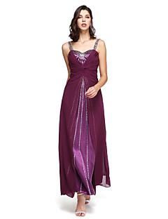 a-lineストラップフロアレングスシフォンフォーマルイブニングドレス、ビーズプリーツ
