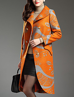 Women's Plus Size / Casual/Daily Street chic Coat,Print Shirt Collar Long Sleeve Fall / Winter Yellow Polyester Thick