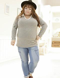 Dame Ret Plus Størrelser Jeans Bukser-Enkel Casual/hverdag Ensfarvet Alm. taljede Knap Bomuld / Polyester / Spandex UelastiskVinter /