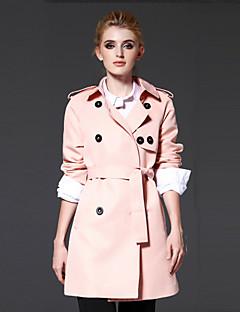Casual/hétköznapi / Munka Egyszerű Őszi / Téli-Női Kabát,Egyszínű Spicc gallér Hosszú ujj Rózsaszín Poliészter Közepes vastagságú