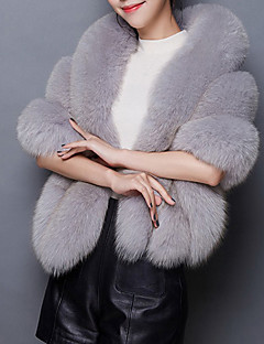 Feminino Casaco de Pêlo Casual Simples Inverno, Sólido Azul / Rosa / Branco / Preto / Marrom / Cinza / Roxo Pêlo Sintético Gola Boba-Sem