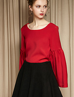 MASKED QUEEN Women's Flare Sleeve Going out Simple Spring / Fall ShirtSolid V Neck Long Sleeve Blue / Red Polyester Medium