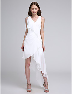 A-Line V-neck Asymmetrical Chiffon Bridesmaid Dress with Pleats by LAN TING BRIDE®