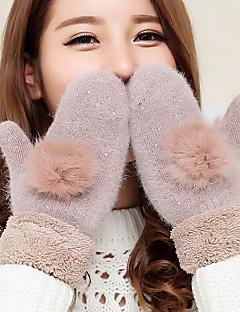женщин кролика волосы шарика шерсти овечки кончиков пальцев длина запястья животного печать милые зимние перчатки