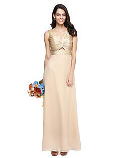 2017 Lanting Bride® Floor-length Taffeta / Georgette Beautiful Back Bridesmaid Dress - V-neck with Criss Cross