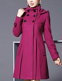 Γυναικεία Παλτό Καθημερινά Χαριτωμένο Μονόχρωμο,Μακρυμάνικο Στρογγυλή Λαιμόκοψη Μεσαίου Πάχους Φθινόπωρο / Χειμώνας ΒαμβάκιΜπλε / Κόκκινο