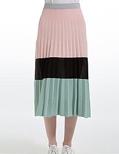 Mujer Faldas,Línea A Bloque de Color Tiro Medio Casual/Diario Midi Elasticidad Nailon Micro-elástica Invierno / Otoño