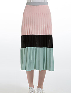 A-linje Nederdele-Dame Farveblok Alm. taljede Casual/hverdag Midi Elasticitet Nylon Mikroelastisk Vinter / Sommer