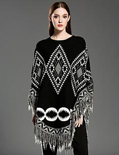 Dame Vintage Casual/hverdag Normal Cloak / Capes Geometrisk,Hvid / Sort Rund hals Uden ærmer Uld / Akryl Vinter Medium Mikroelastisk
