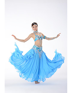 Belly Dance Outfits Women's Performance Polyester Beading / Paillettes 2 Pieces Sleeveless Dropped Skirt / Bra One Size