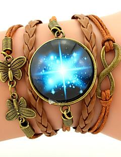 Miesten Naisten Amuletti-rannekorut Nahka Rannekorut Wrap Rannekorut Friendship Monitaso punottu Galaksi Muoti Inspiraatio Personoitu