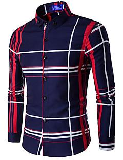 Bomull Blå / Sort Medium Langermet,Skjortekrage Skjorte Ensfarget / Lapper Vår / Høst Enkel Fritid/hverdag Herre