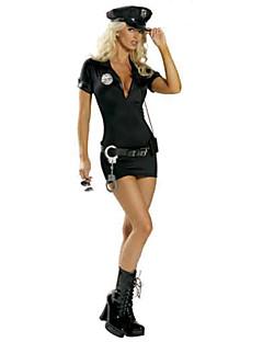 Kostiumy Cosplay / Kostium imprezowy Policjant Festiwal/Święto Kostiumy na Halloween Czarny Jendolity kolorUbierać / Pas / Czapki /