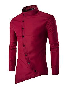 Masculino Camisa Social Casual Simples Primavera / Outono,Sólido Azul / Vermelho / Branco / Preto Algodão Colarinho de Camisa Manga Longa