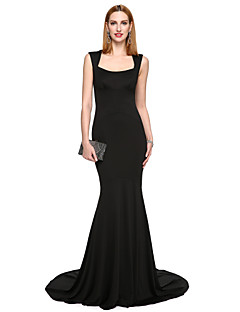 TS Couture® Formal Evening Dress - Ivanka Style / Celebrity Style Trumpet / Mermaid Square Sweep / Brush Train Stretch Satin