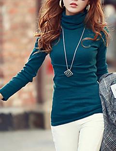 Feminino Camiseta Informal / Casual / Tamanhos Grandes Simples / Moda de Rua Outono / Inverno,SólidoVermelho / Branco / Preto / Cinza /