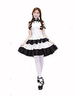 Cosplay Kostýmy Kostým na Večírek Pokojská Kariéra kostýmy Festival/Svátek Halloweenské kostýmy Bílá Černá Jednobarevné ŠatyHalloween