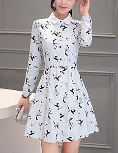 אביב פוליאסטר לבן שרוול ארוך מיני צווארון פיטר פן דפוס סגנון רחוב ליציאה שמלה גזרת A נשים,גיזרה בינונית (אמצע) מיקרו-אלסטי בינוני (מדיום)