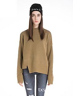 Damen Standard Pullover-Lässig/Alltäglich Retro Solide Rosa Grau Gelb Rundhalsausschnitt Langarm Wolle Winter Mittel Mikro-elastisch