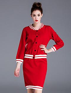 Langærmet Rund hals Dame Rød Ensfarvet Efterår Simpel Casual/hverdag Sæt Skjørte Suits,Akryl
