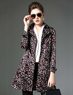 Dámské Leopard Běžné/Denní Vintage Trenčkot-Polyester Zima Klasické klopy Dlouhý rukáv Černá Střední