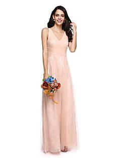 2017 Lanting andar de comprimento bride® Renda / Tule vestido de dama elegante - v-neck com cruz criss