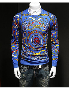 Men's Casual/Daily Simple Regular Pullover,Print Blue Black Round Neck Long Sleeve Wool Cotton Fall Winter Thin Micro-elastic