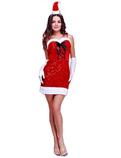 Festival/Højtider Halloween Kostumer Ensfarvet Kjole Handsker Hovedtøj Jul Kvindelig