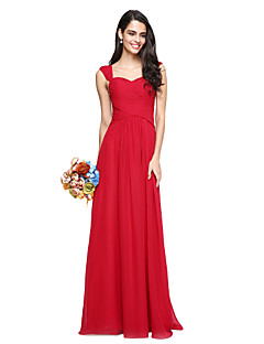 2017 lanting bride® 바닥 길이 쉬폰 우아한 신부 들러리 드레스 - 골 크로스와 줄 스트랩