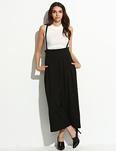 Women's Wide Leg Solid Beige / Black / Gray Jumpsuits,Holiday / Casual Loose High waist Strap Wide leg pants Cotton / Linen