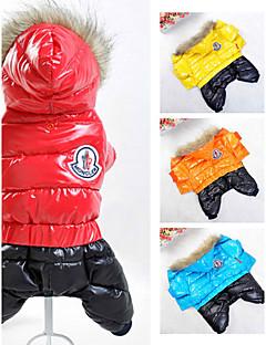 כלבים מעילים קפוצ'ונים סרבלים Red כתום צהוב כחול בגדים לכלבים חורף קיץ/אביב קולור בלוק ספורטיבי Keep Warm חסין רוח