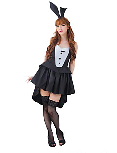 Cosplay Costumes Party Costume Career Costumes Bunny Girls Festival/Holiday Halloween Costumes Black/White SolidDress Leg Warmers