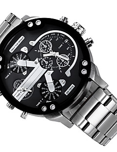 Men's Military Watch Dress Watch Fashion Watch Wrist watch Calendar Dual Time Zones Punk Quartz Alloy Band Charm Cool Casual LuxuryBlack
