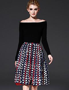 A-linje Nederdele-Dame Geometrisk Flettet-Vintage Enkel Alm. taljede Afslappet/Hverdag Arbejde Knælængde Lynlås Polyester UelastiskAlle