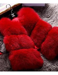 Manteau en Fourrure Femme,Couleur Pleine Décontracté / Quotidien simple Sans Manches Rose / Rouge Fausse Fourrure