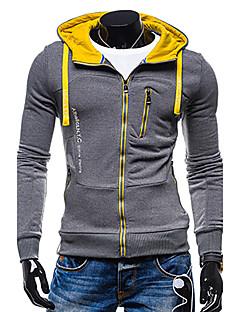 Bărbați Casul/Zilnic / Sporturi Simplu(ă) / Activ Regular Hoodies-Bloc Culoare Gri Manșon Lung Capișon Poliester Toamnă / Iarnă Mediu