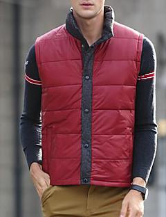 Пальто Простое На подкладке Для мужчин,Однотонный На каждый день Большие размеры Полиэстер Пух белой утки,Без рукавов