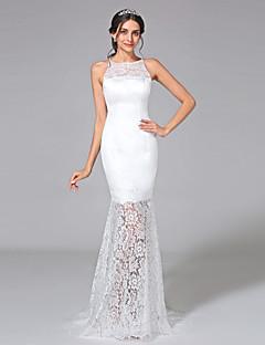 2017 Lanting Bride® Trumpet / Mermaid Wedding Dress - Elegant & Luxurious See-Through Wedding Dresses Sweep / Brush Train Jewel Lace / Satin