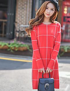 Feminino Solto / Reto / Tricô Vestido, Para Noite / Casual / Férias estilo antigo / Moda de Rua / Sofisticado Estampa ColoridaDecote