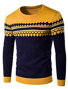 Herre Simpel Casual/hverdag Normal Pullover Ensfarvet / Prikker / Stribet,Blå / Rød / Grå Rund hals Langærmet Bomuld / Akryl Vinter Medium
