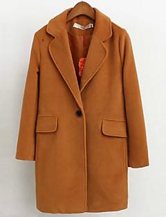 여성 솔리드 노치 라펠 긴 소매 코트-섹시 / 스트리트 쉬크 데이트 / 캐쥬얼/데일리 레드 / 브라운 면 가을 / 겨울 두꺼움