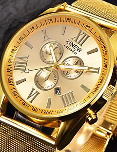 גברים שעוני אופנה שעון יד קווארץ לוח שנה מתכת אל חלד להקה מגניב שחור זהב שחור כסף שחור/כסוף