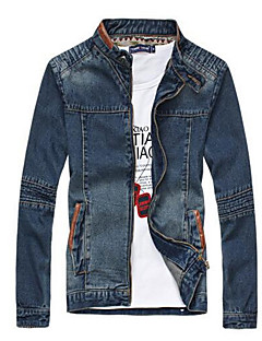 Men's Casual/Daily Vintage / Street chic Jackets,Solid Long Sleeve Blue Cotton